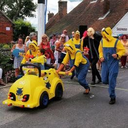 Charity wheelie-bin race at the Three Horseshoes Faversham